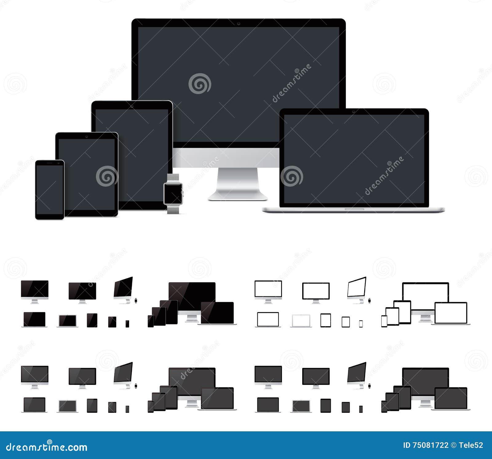 Vector реалистическая компьтер-книжка, настольный компьютер, чернь, таблетка, шаблоны smartwatch