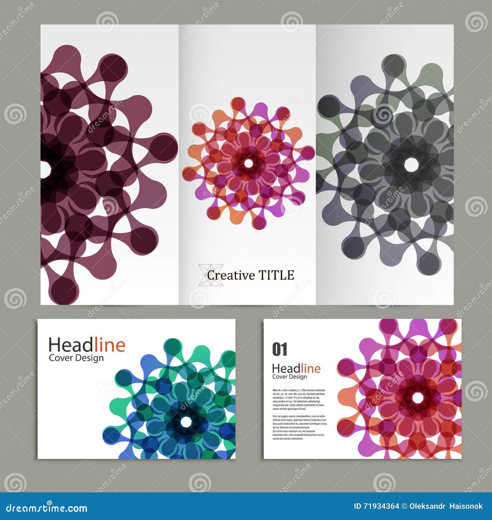 Vector рогулька и брошюра картины с абстрактными диаграммами