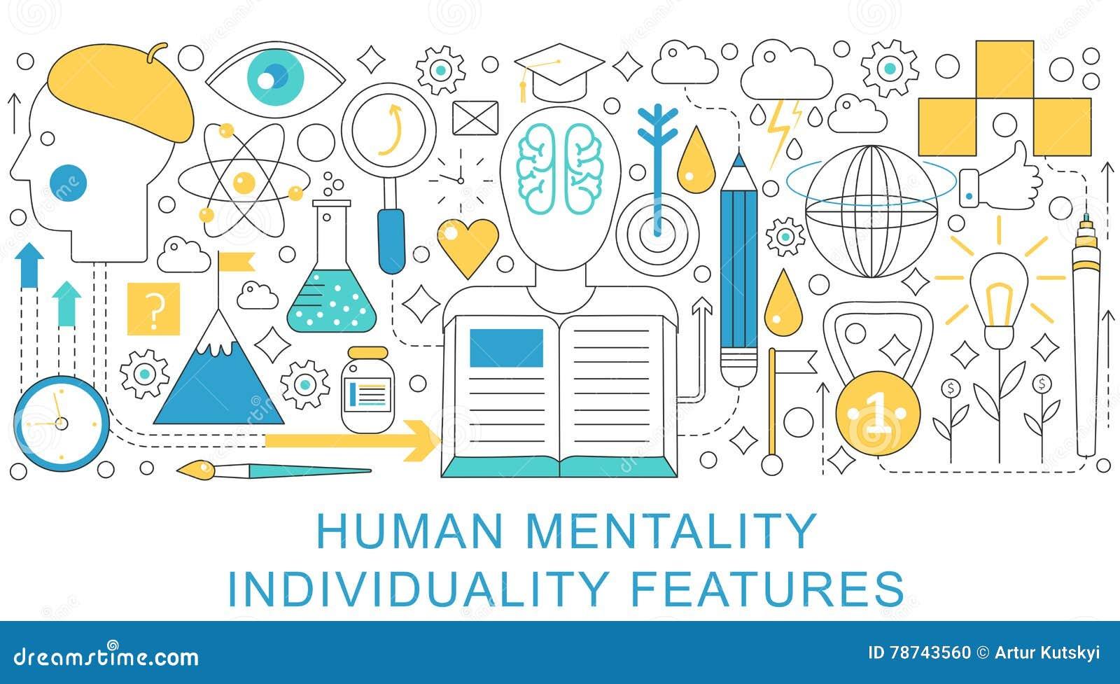 Vector элегантная тонкая линия плоско современная человеческая концепция ментальности и индивидуальности План элементов знамени з