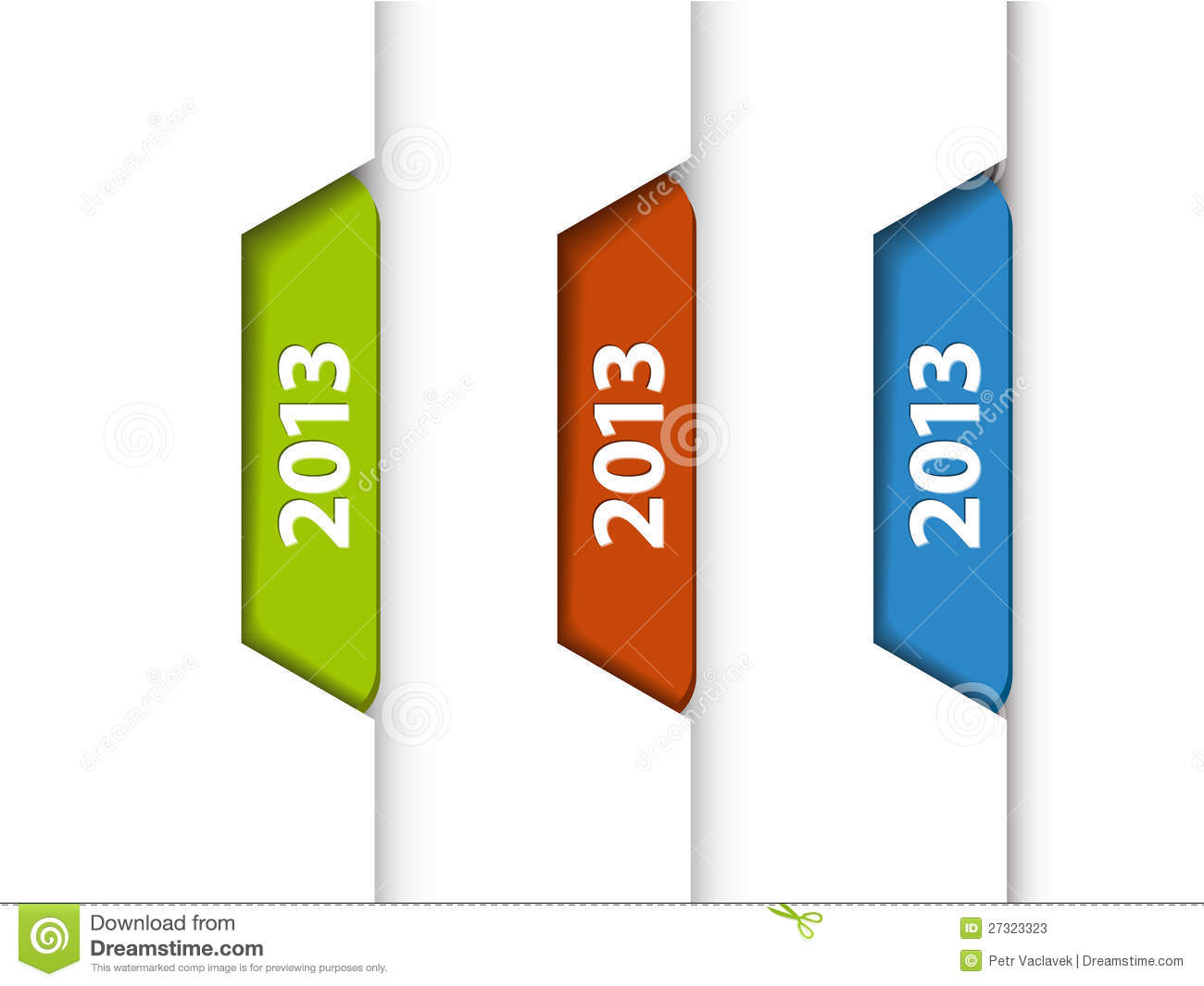 vector 2013 labels on the edge of web page stock vector
