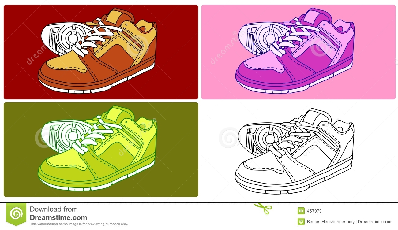 Download Vector - 4 Shoes stock illustration. Illustration of legs - 457979