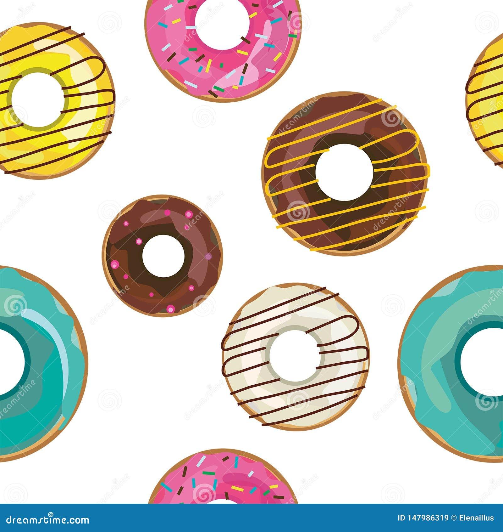 Vector aardig naadloos patroon met kleurrijke donuts