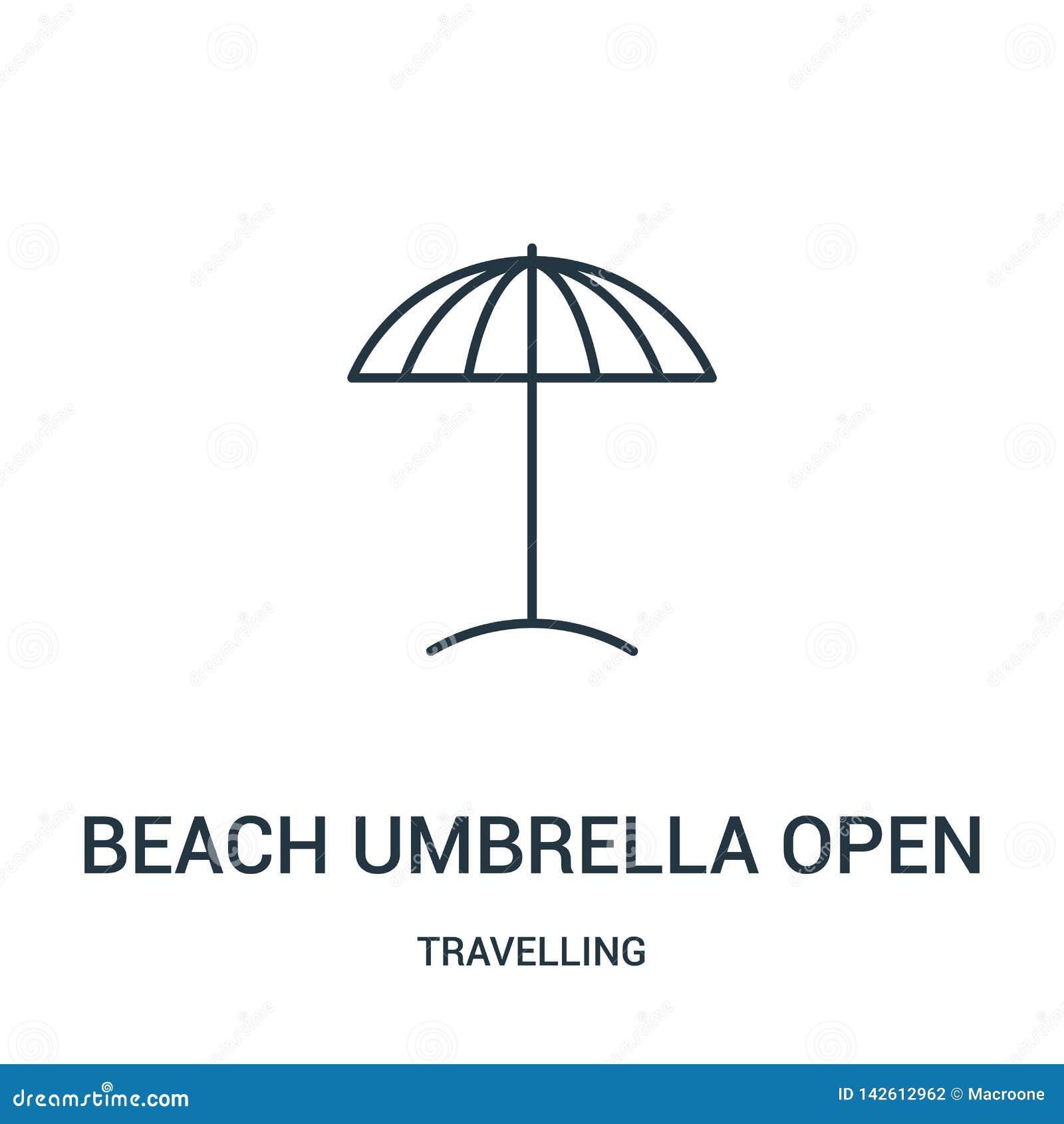 Vector abierto del icono del parasol de playa de la colección que viaja Línea fina ejemplo abierto del vector del icono del esque