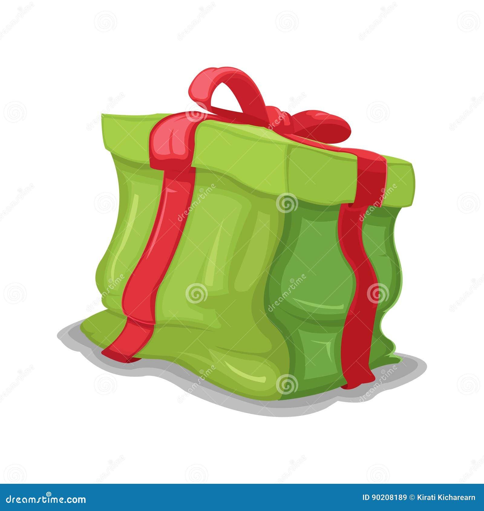 Vector abollado caja verde del agolpamiento del regalo