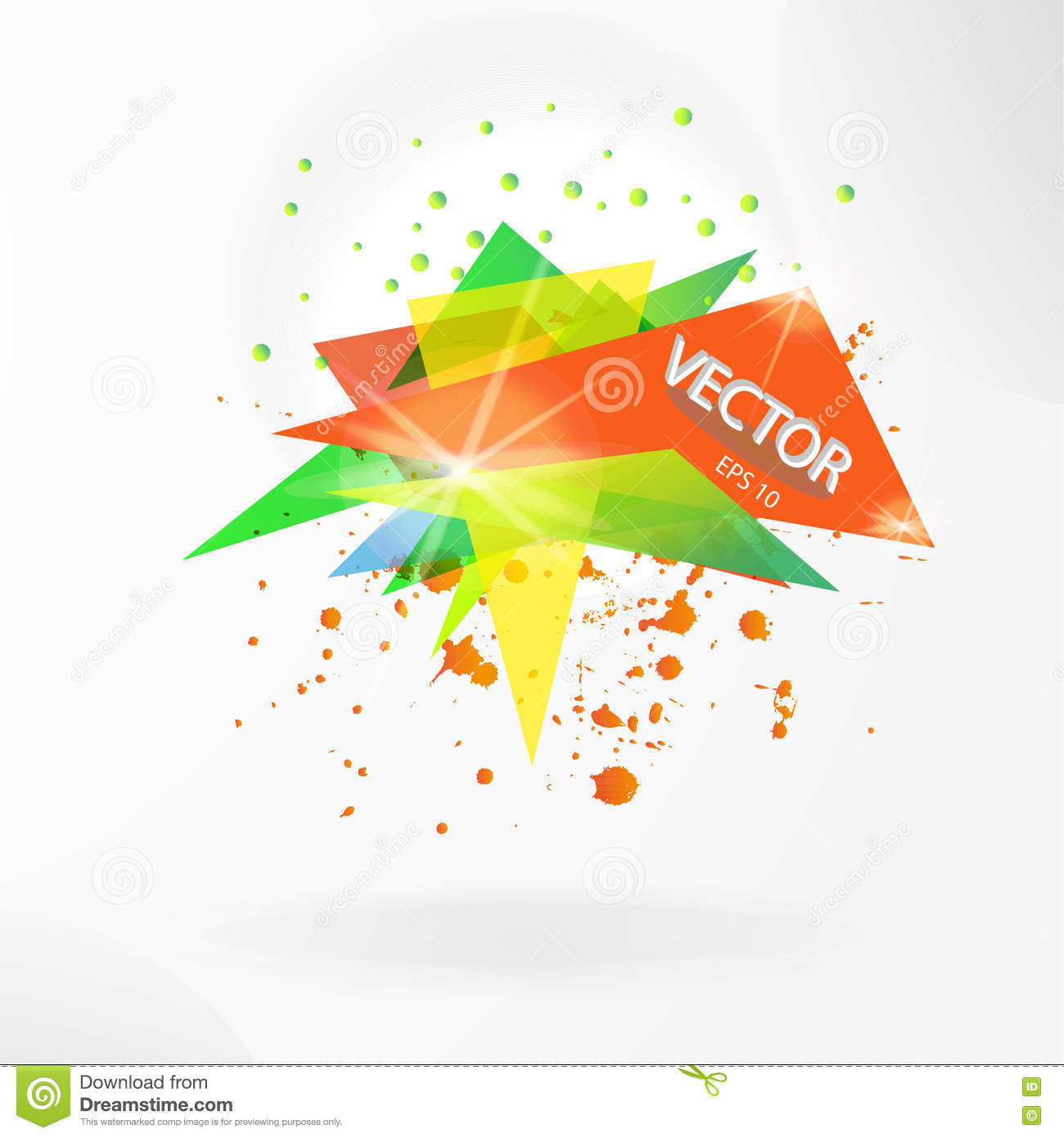 vector abstract background template with triangle banner stock