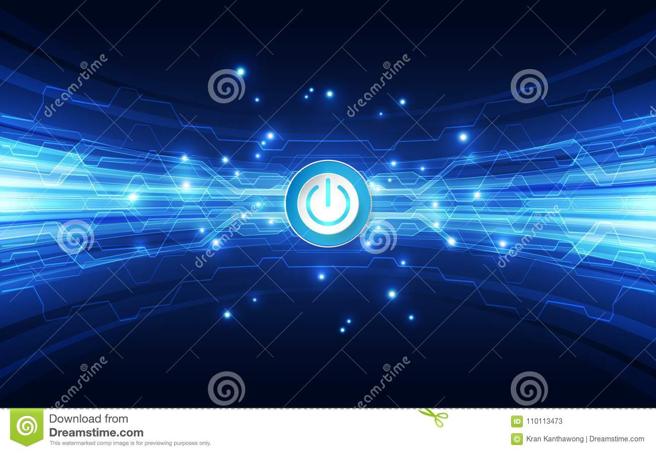 Vector Abstract button power futuristic high digital technology blue color background, illustration web