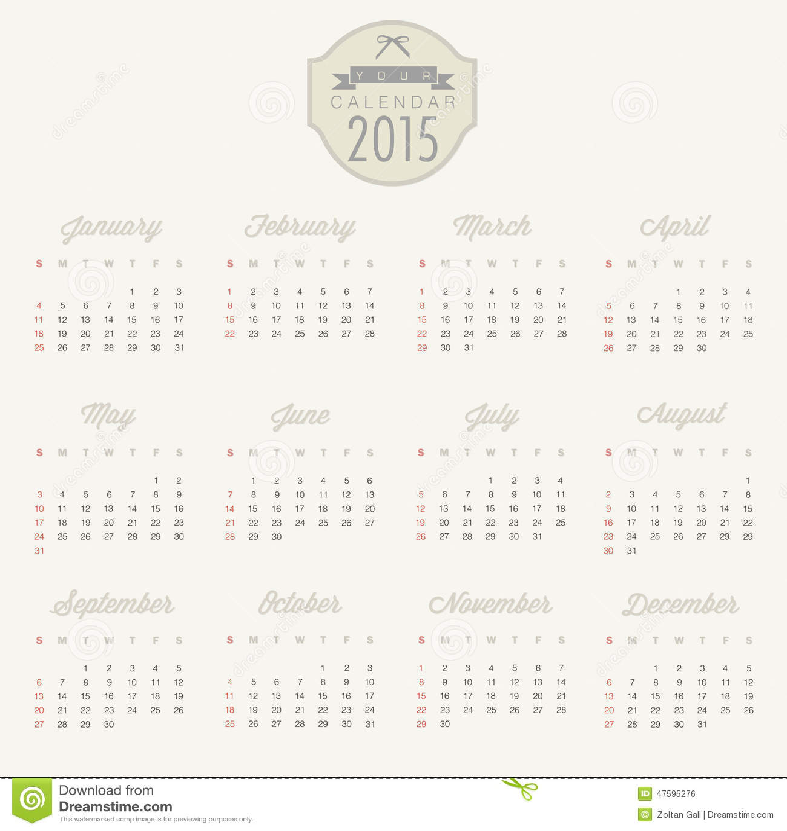 Vector Abstract Calendar 2015 Stock Vector Illustration Of Date