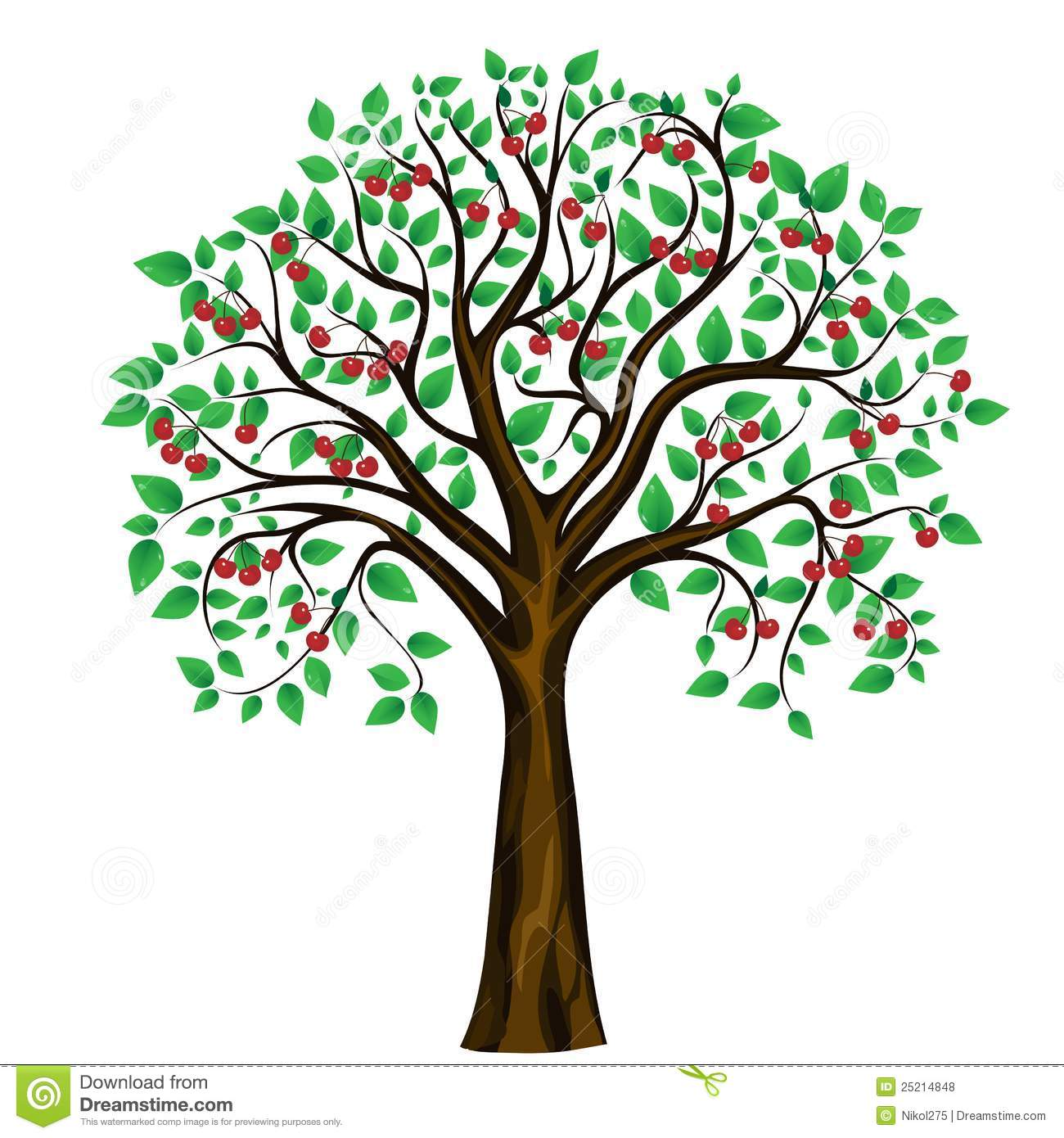 Vector Abstract Cherry Tree On White Background Stock