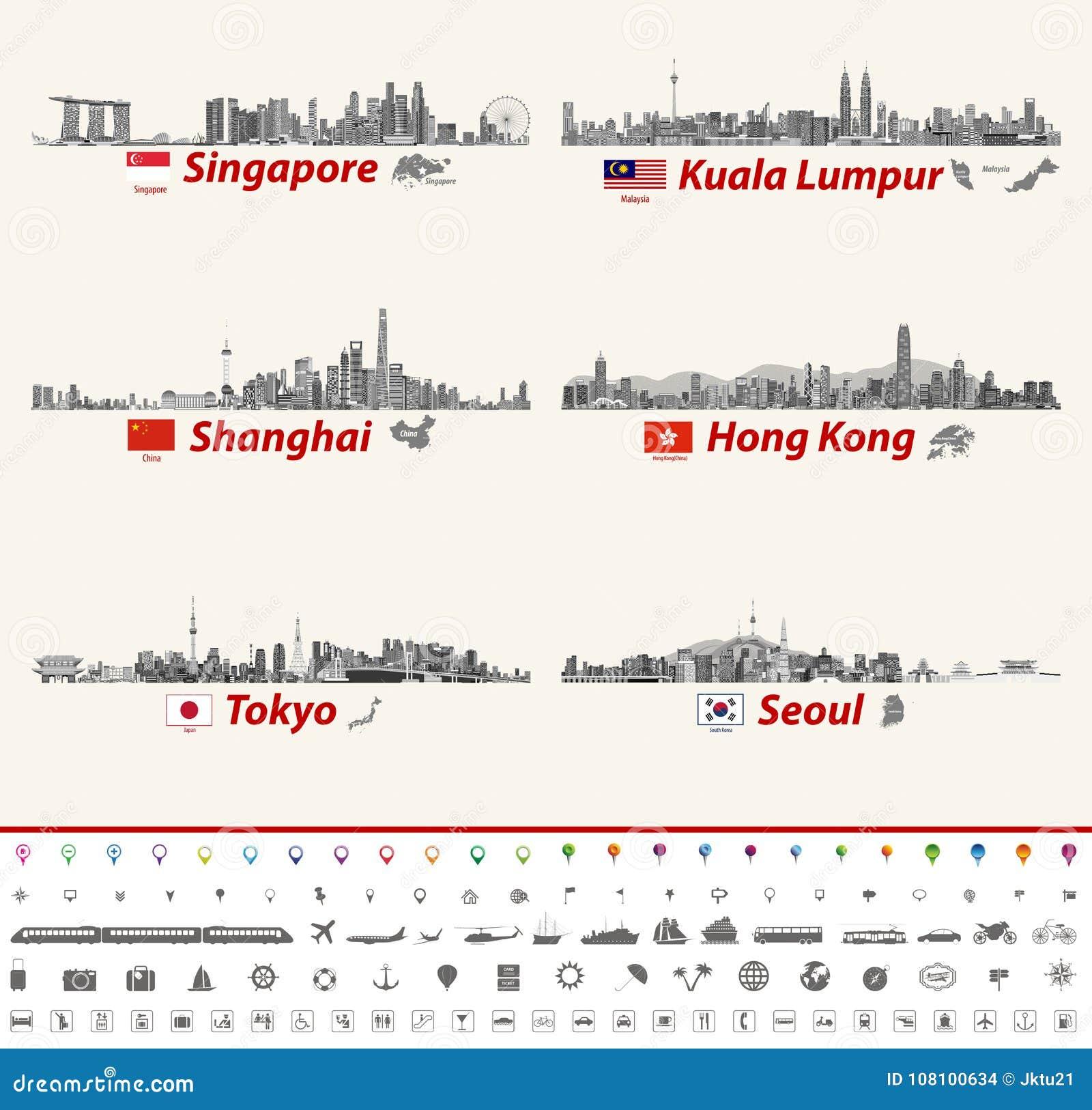 Vector Abstract City Skylines Of Singapore, Kuala Lumpur