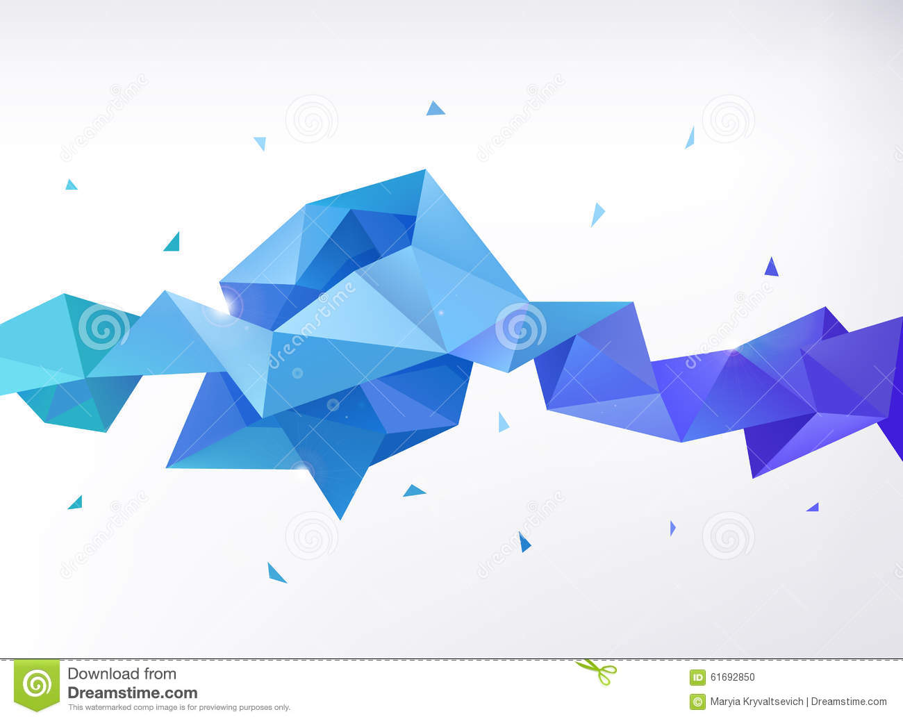 Vector Abstract Colorful Blue Faceted Crystal Stock Vector