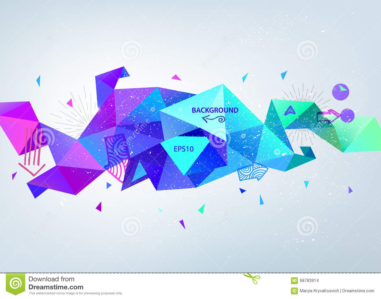 vector abstract colorful blue faceted crystal banner 3d shape with
