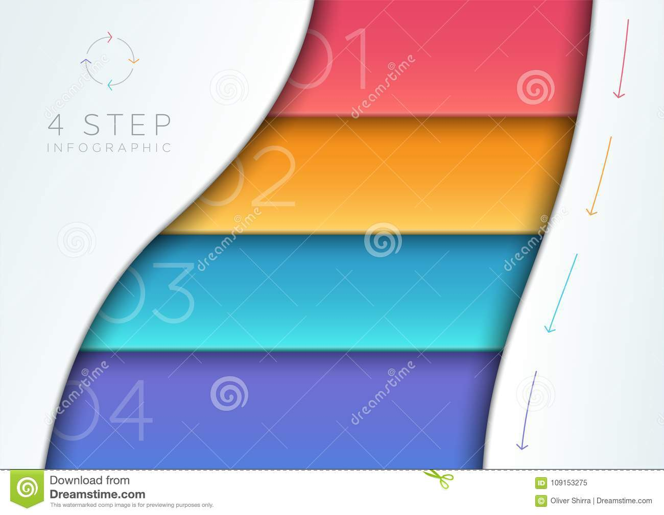 Vector Abstract Colorful 3d Banner List 1 To 4 Template Stock Vector