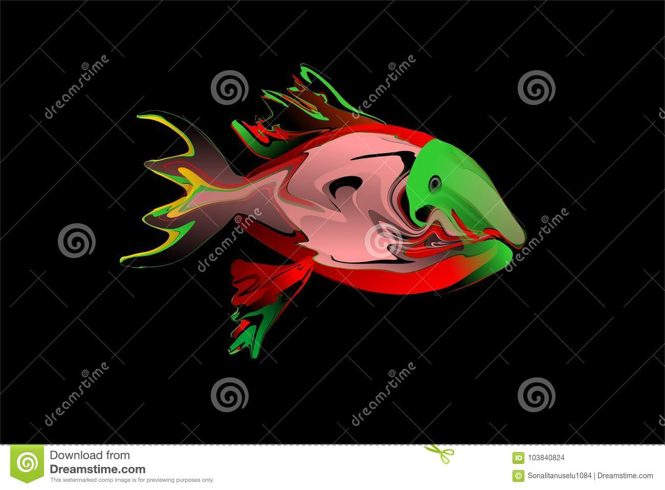 Vector Abstract Colorful Fish With Black Background Wallpaper Stock ...