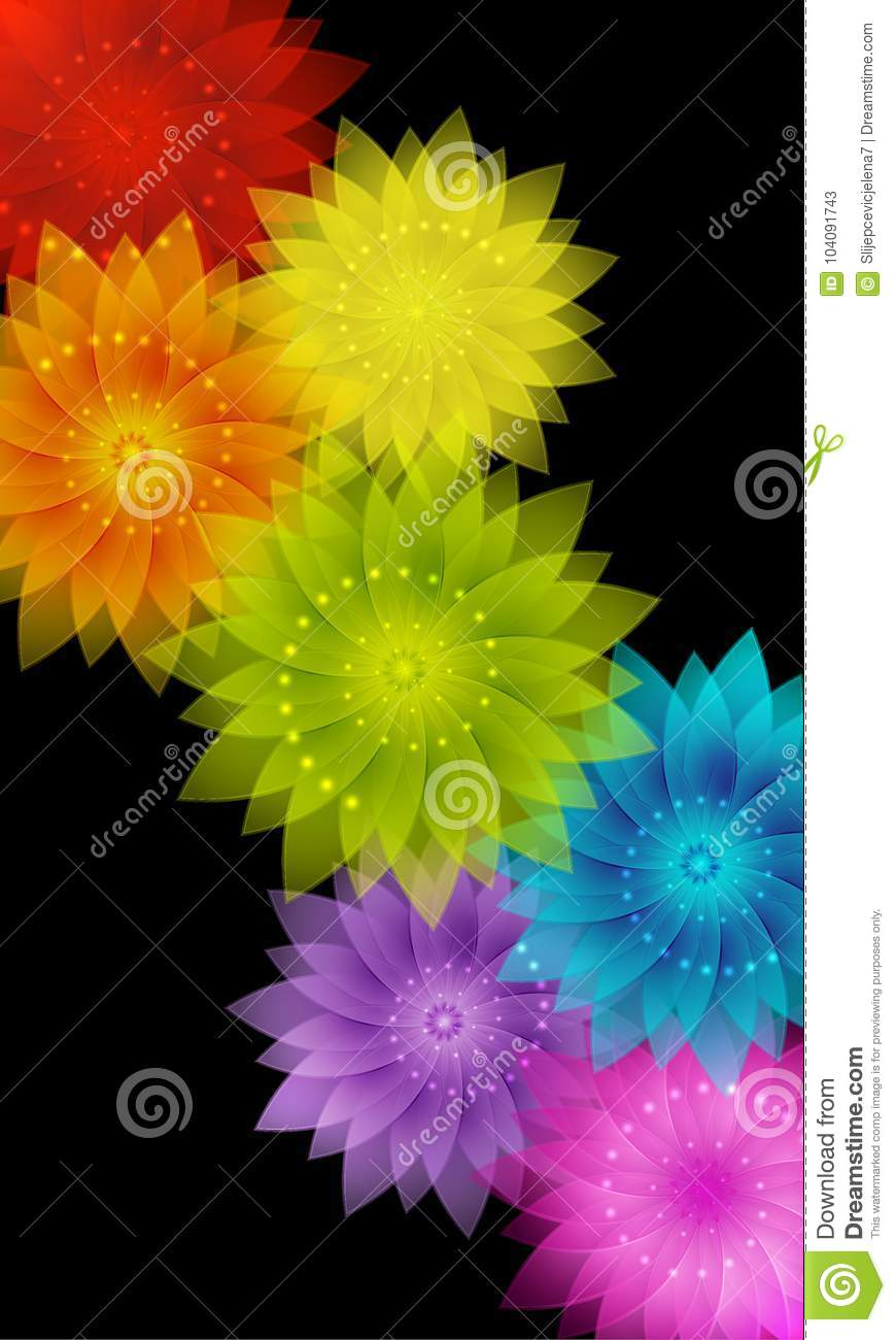 Vector Abstract Colorful Rainbow Floral Background Stock Vector