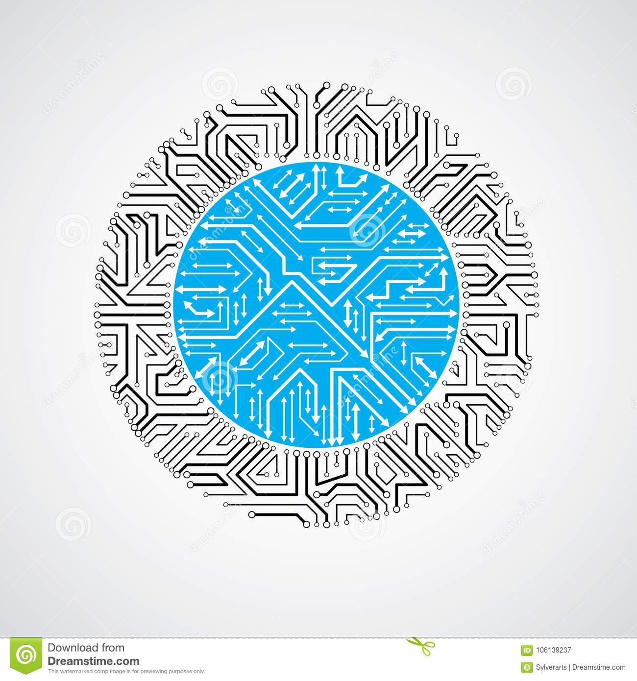 Vector Abstract Computer Circuit Board Blue Illustration Round Design