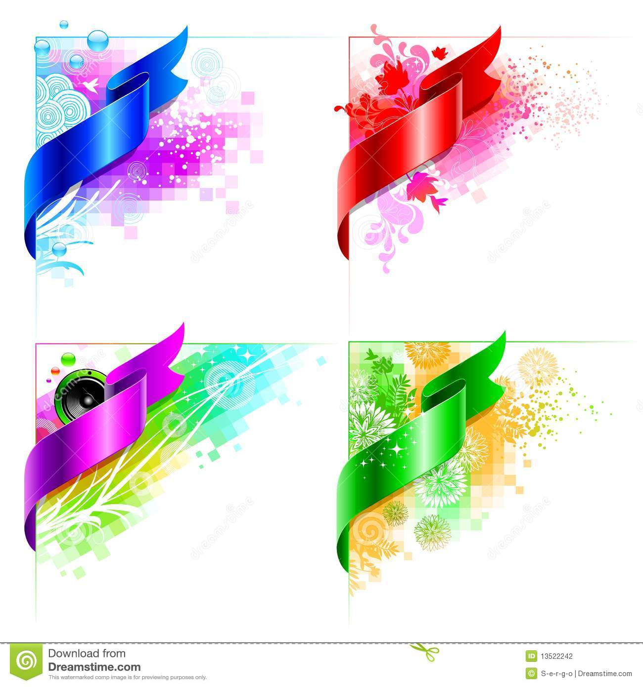 Vector Abstract Corner Design With Floral Elements Stock ...