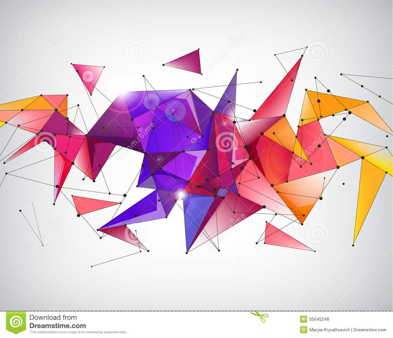 Vector Abstract Crystal 3d Faceted Geometric Origami Rainbow Background Futuristic Banner