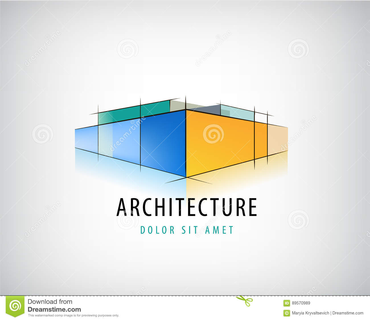Vector abstract 3d architecture sign building plan logo 3d architecture design