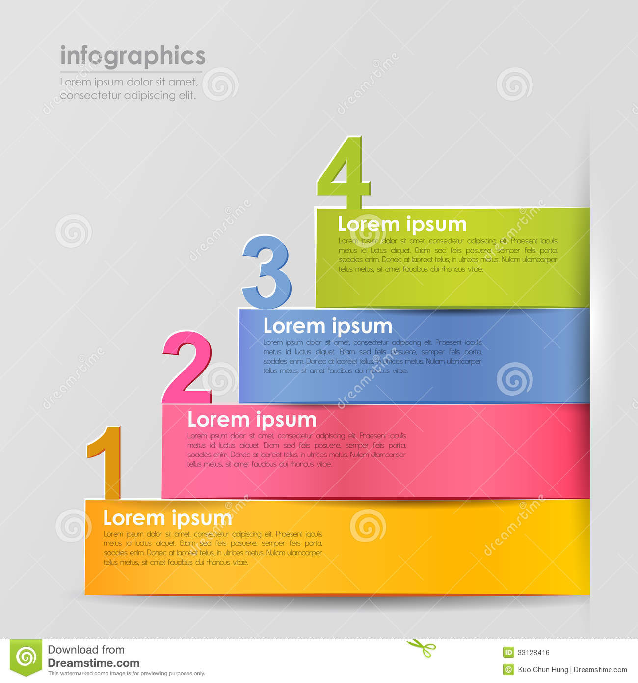 Vector Abstract 3d Paper Infographics Stock Vector