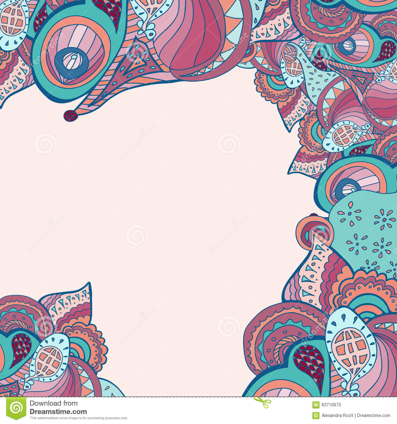 Vector Abstract Doodle Psychedelic Border Stock Vector