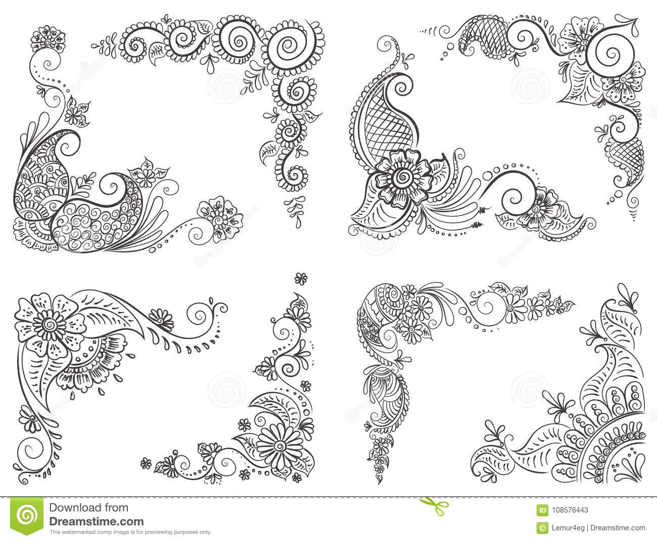 Abstract Pattern Of A Tattoo Henna Stock Vector Illustration Of