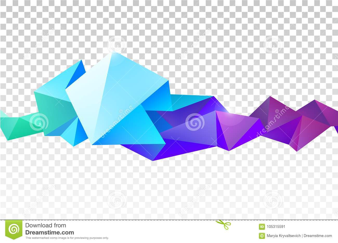 vector abstract faceted crystal banner 3d shape with triangles