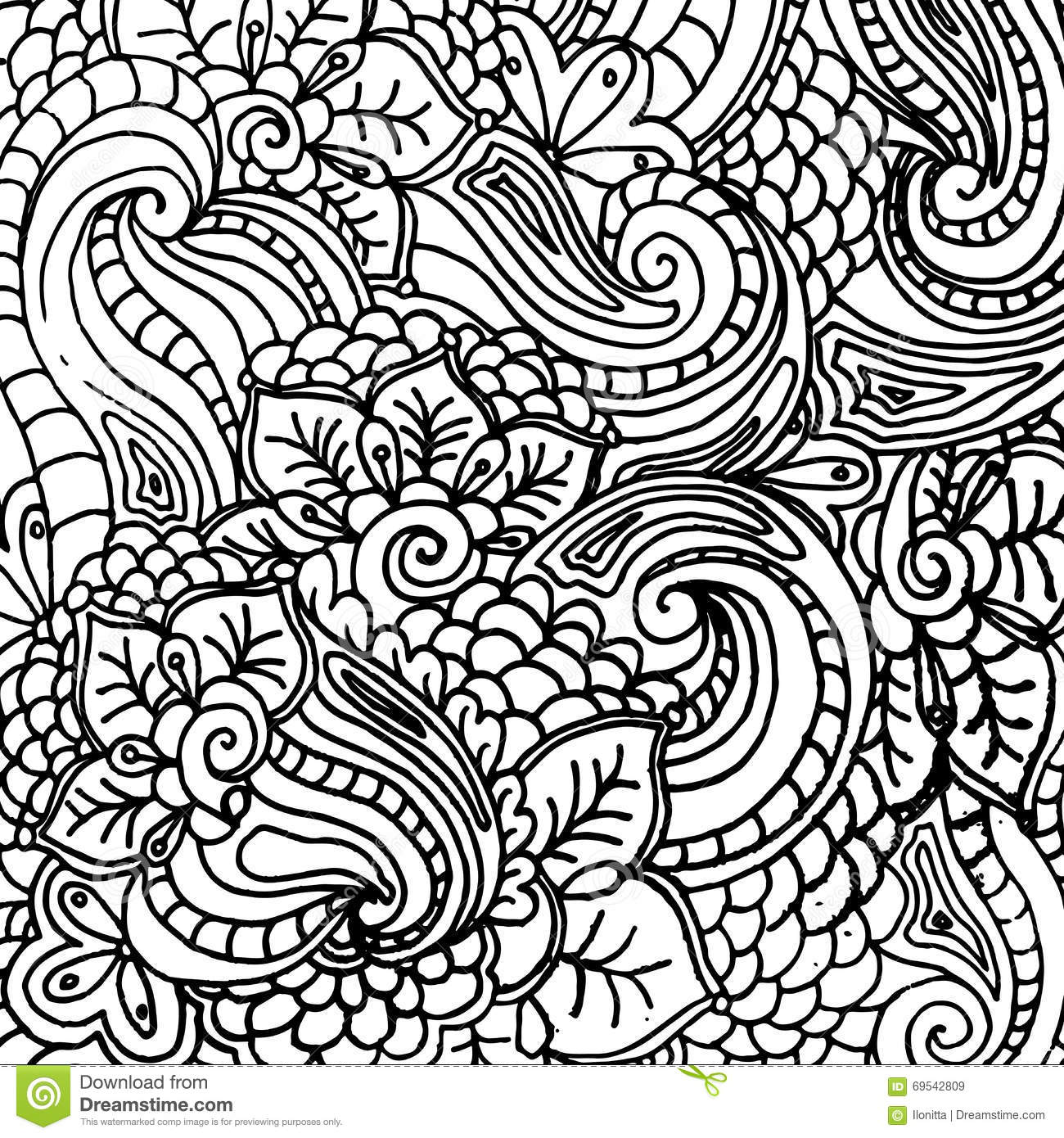 Royalty Free Vector Download Abstract Fantasy Pattern For Coloring Book