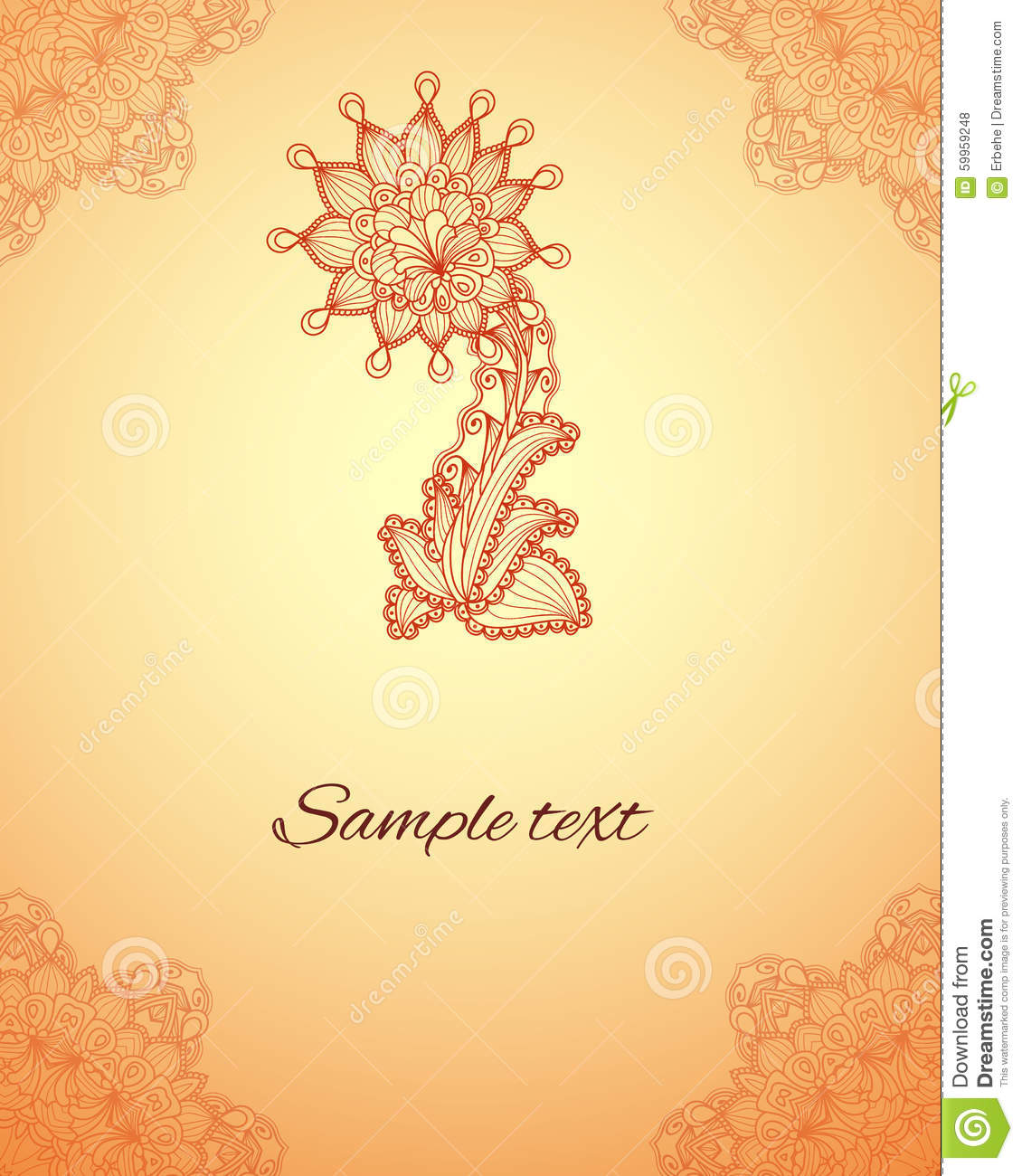 Vector Abstract Floral Elements In Indian Mehndi Style Henna Fl