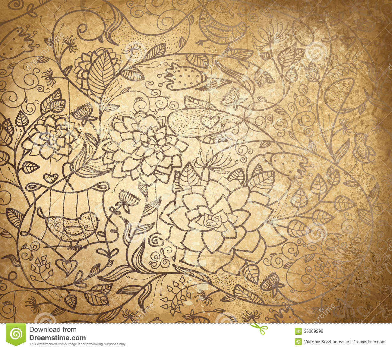 Vector Abstract Floral Pattern On Old Paper Backgr Stock ...