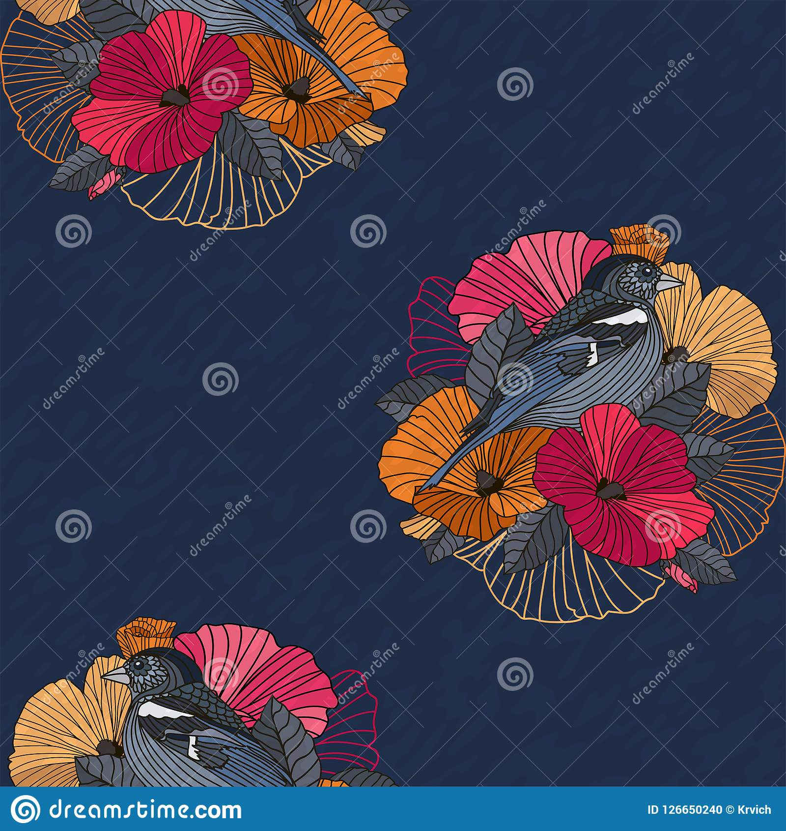 Abstract Floral Seamless Pattern Bird And Flower Stock