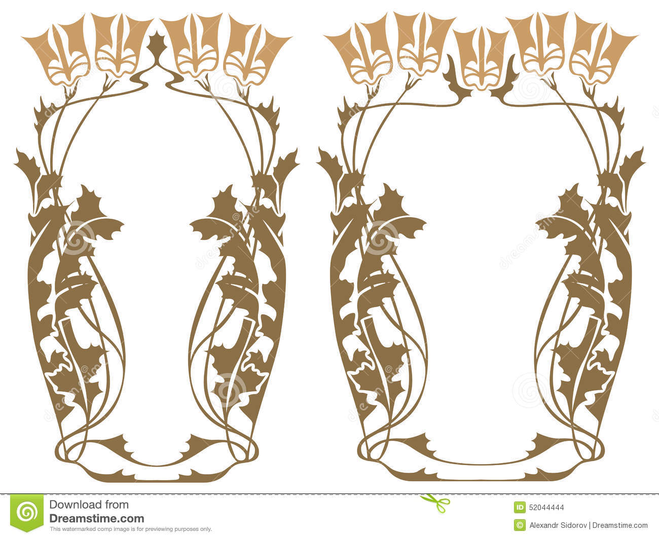 Vector abstract framework from the bound plants and for Art nouveau decoration ameublement
