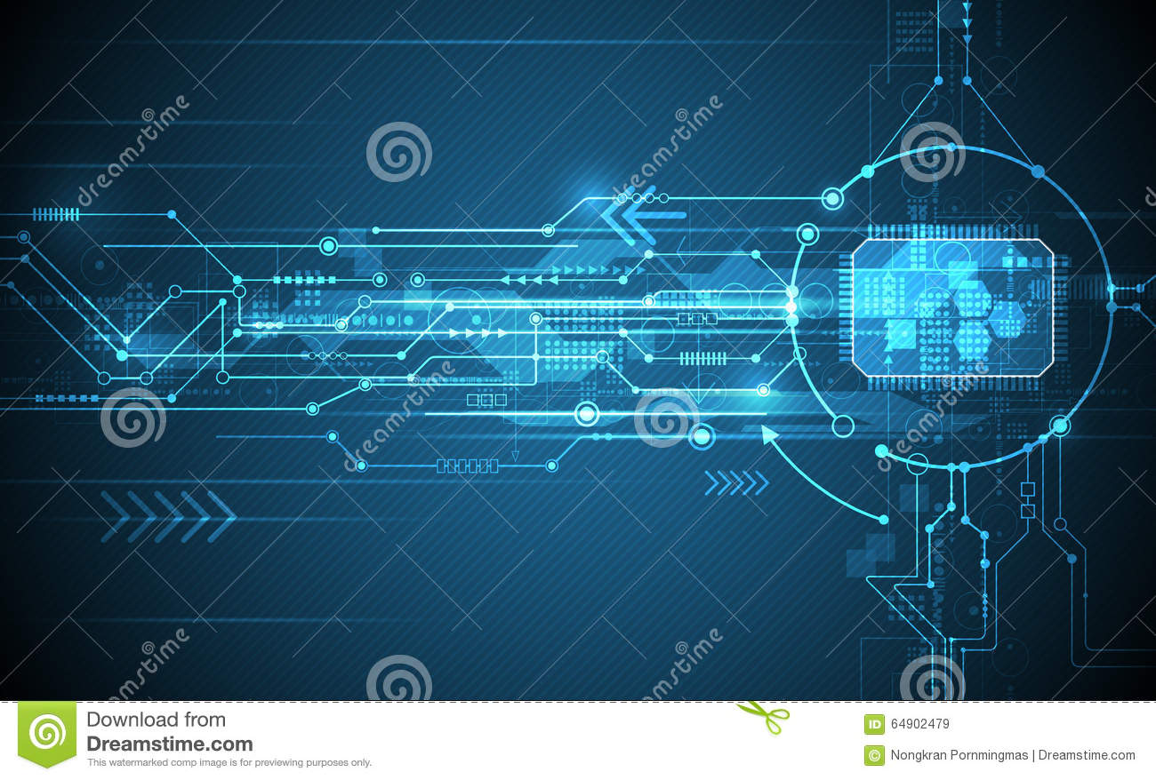Futuristic Hi Tech Background Vector: Vector Abstract Futuristic Circuit Board And Cpu