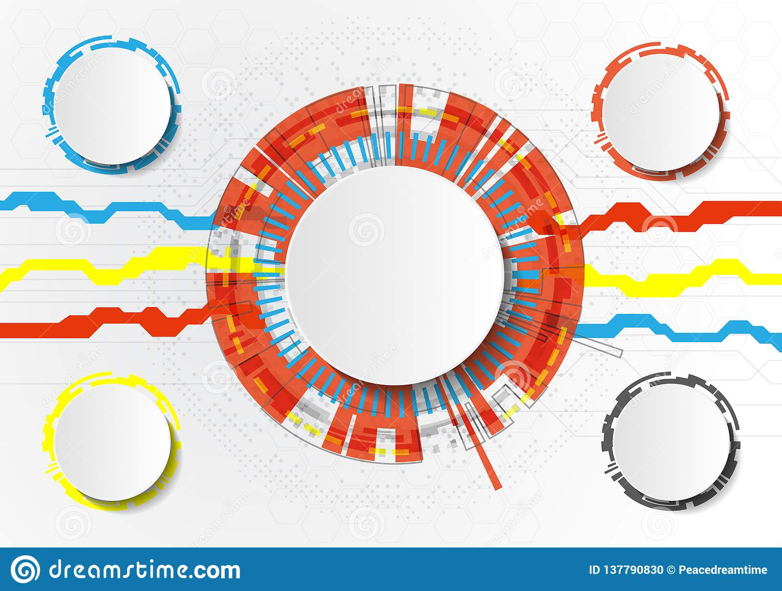 Vector Abstract futuristic circuit board on light gray background, hi-tech digital technology concept. Blank white 3d paper circle