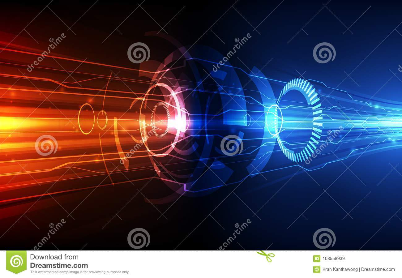 Vector Abstract futuristic circuit board system, Illustration high speed digital technology blue color concept