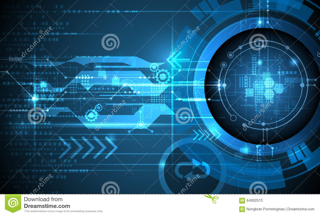 Futuristic Hi Tech Background Vector: Vector Abstract Futuristic Eyeball On Circuit Board