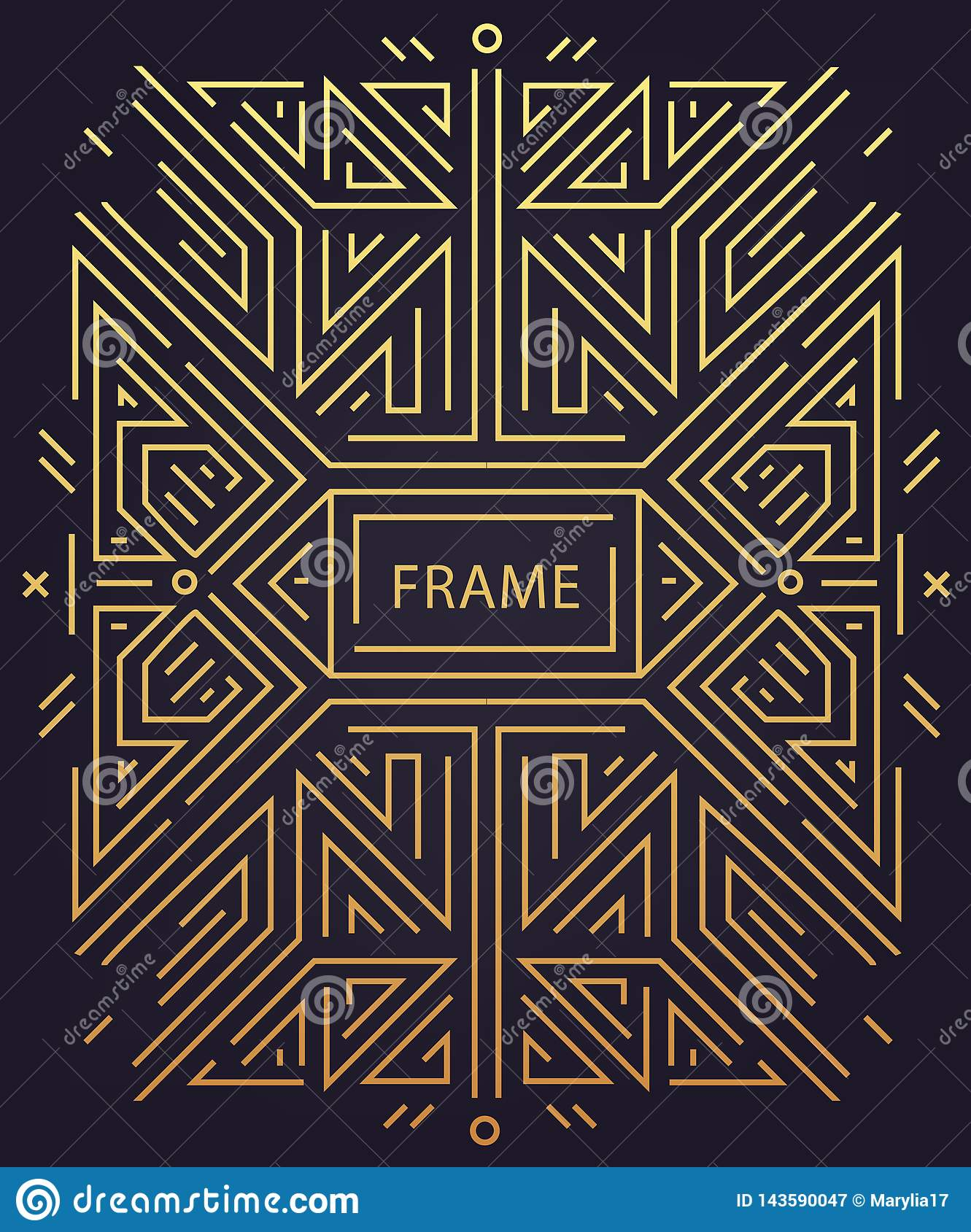Vector Abstract Geometric Art Deco Frame Border Background