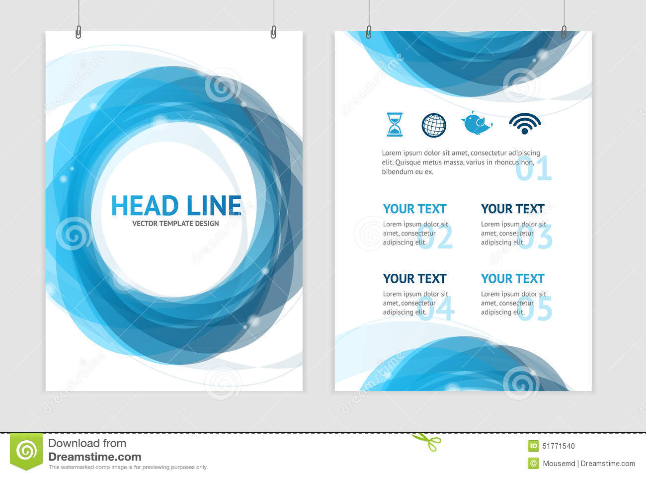 Vector Abstract Geometric Blue Round Brochure Stock Vector