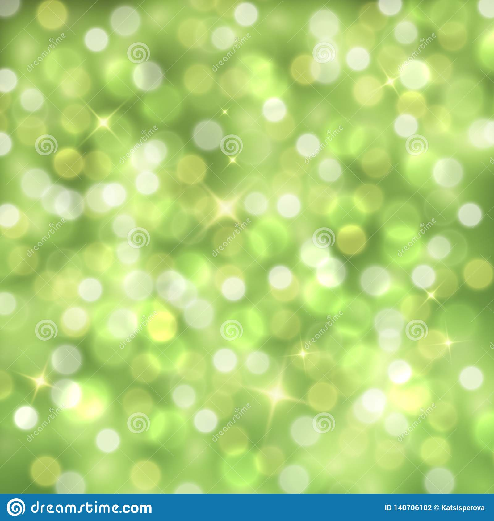 Vector abstract green sparkling background with blurred lights