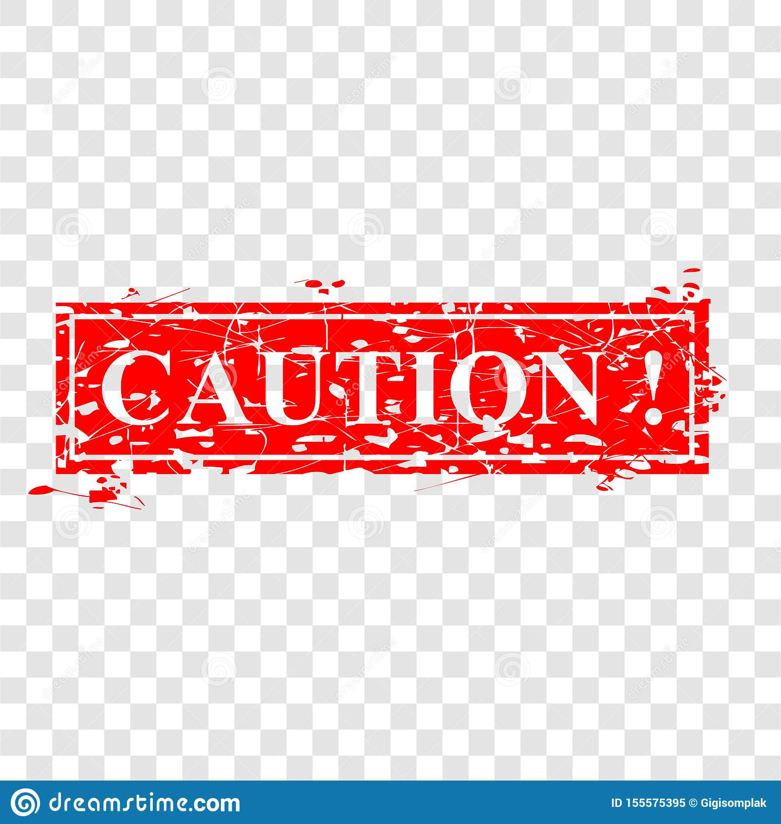 Simple Vector, Abstract Grunge Red Rubber Stamp, Caution ...