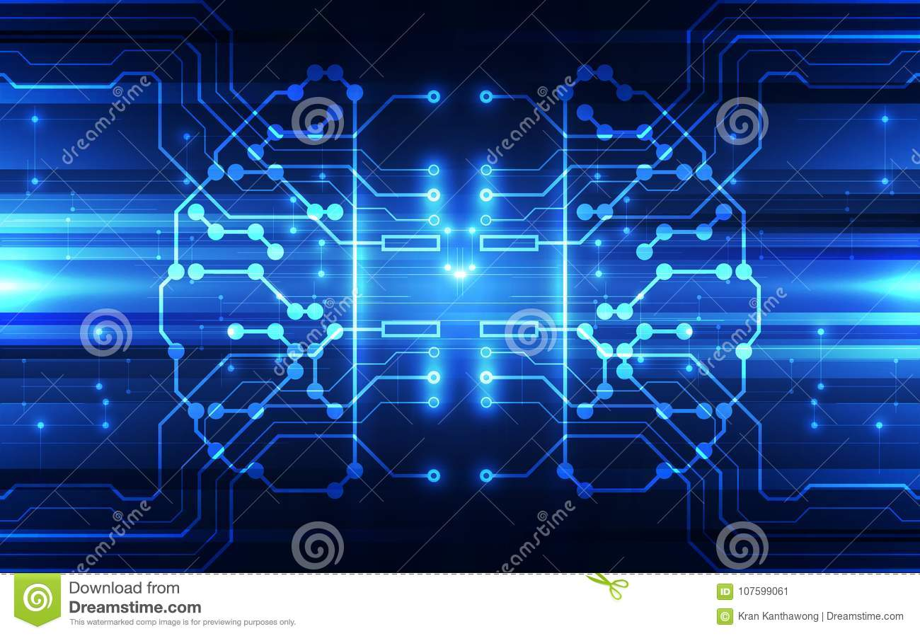 Vector Abstract Human Brain Futuristic Circuit Board Illustration High Digital Technology Blue Color
