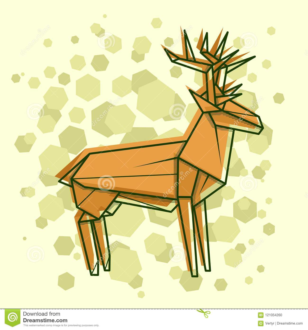 vector abstract simple illustration drawing outline deer