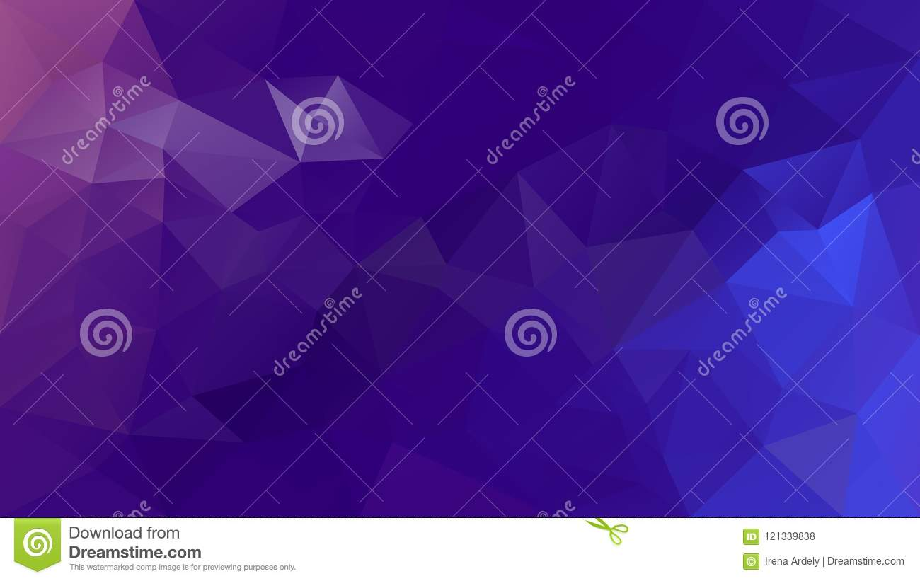 Vector irregular polygonal background - triangle low poly pattern - purple, orchid, violet and blue color gradient