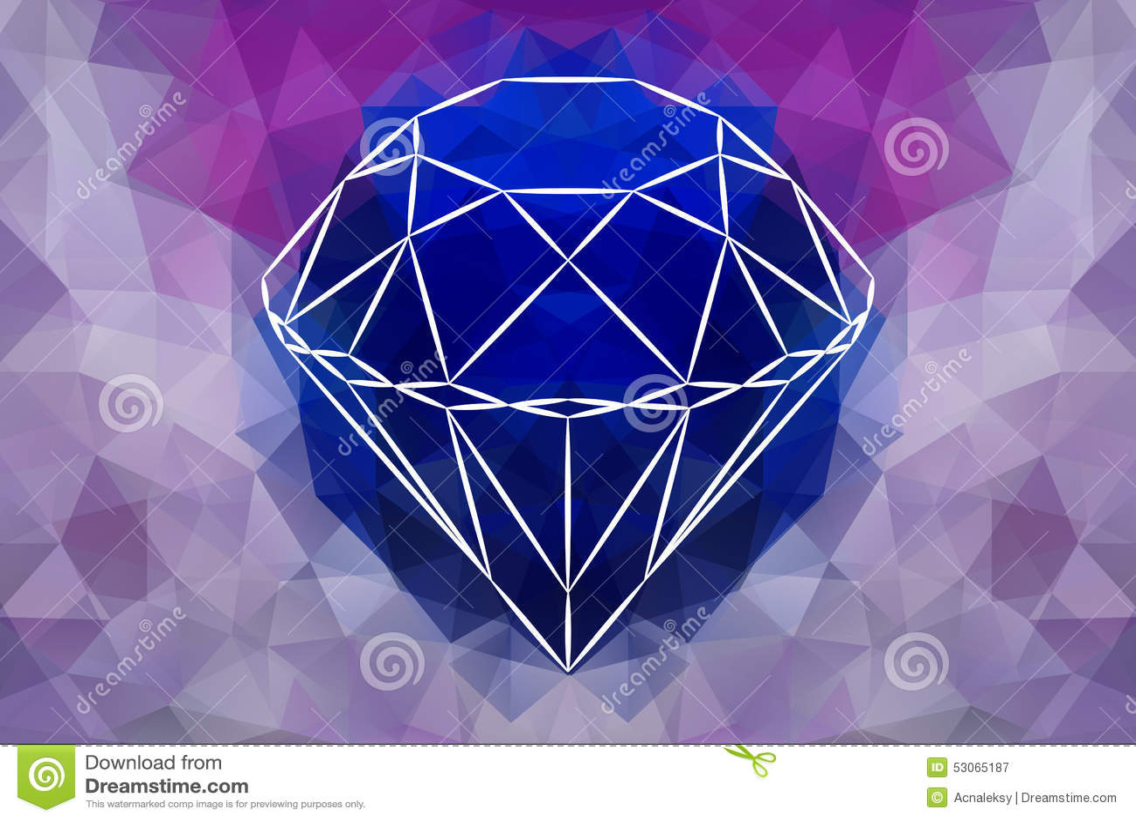 Vector Abstract Jewelry diamond, geometric shape of gemstone