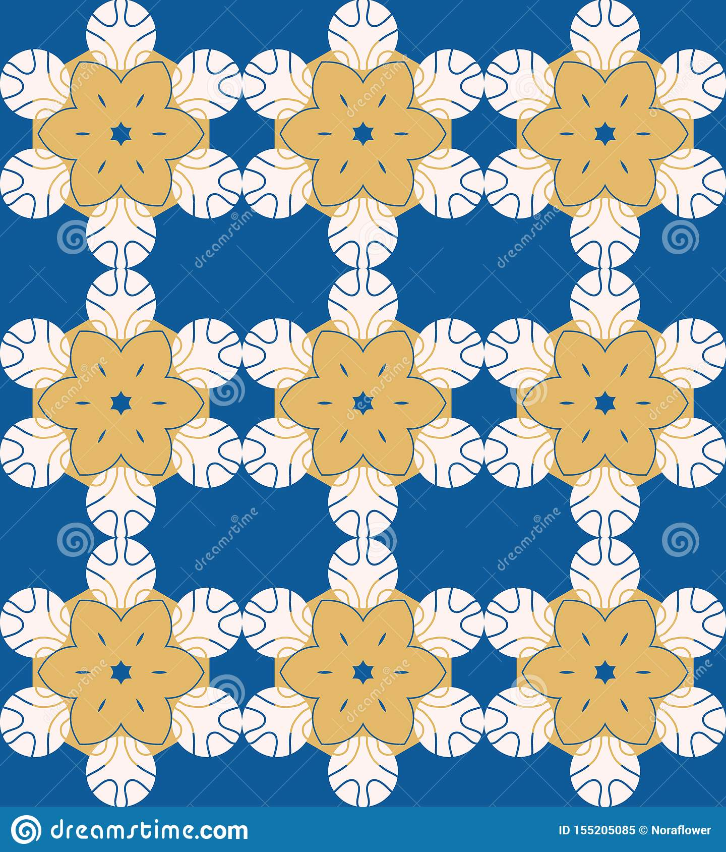 Vector abstract light colour seamless with geometric flower shaped elements. Decorative mandala pattern
