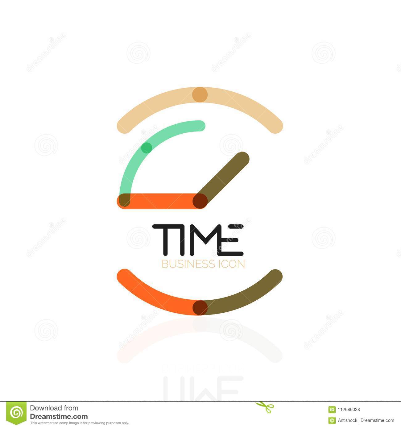 Vector Abstract Logo Idea, Time Concept Or Clock Business