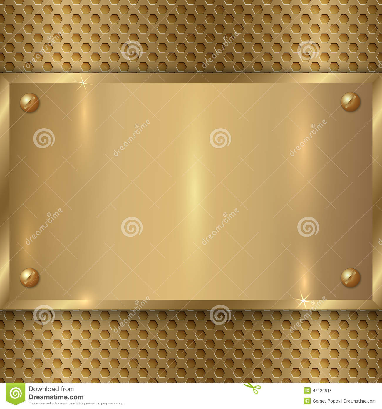 vector abstract metal old gold plaque on the cell stock vector image 42120618. Black Bedroom Furniture Sets. Home Design Ideas
