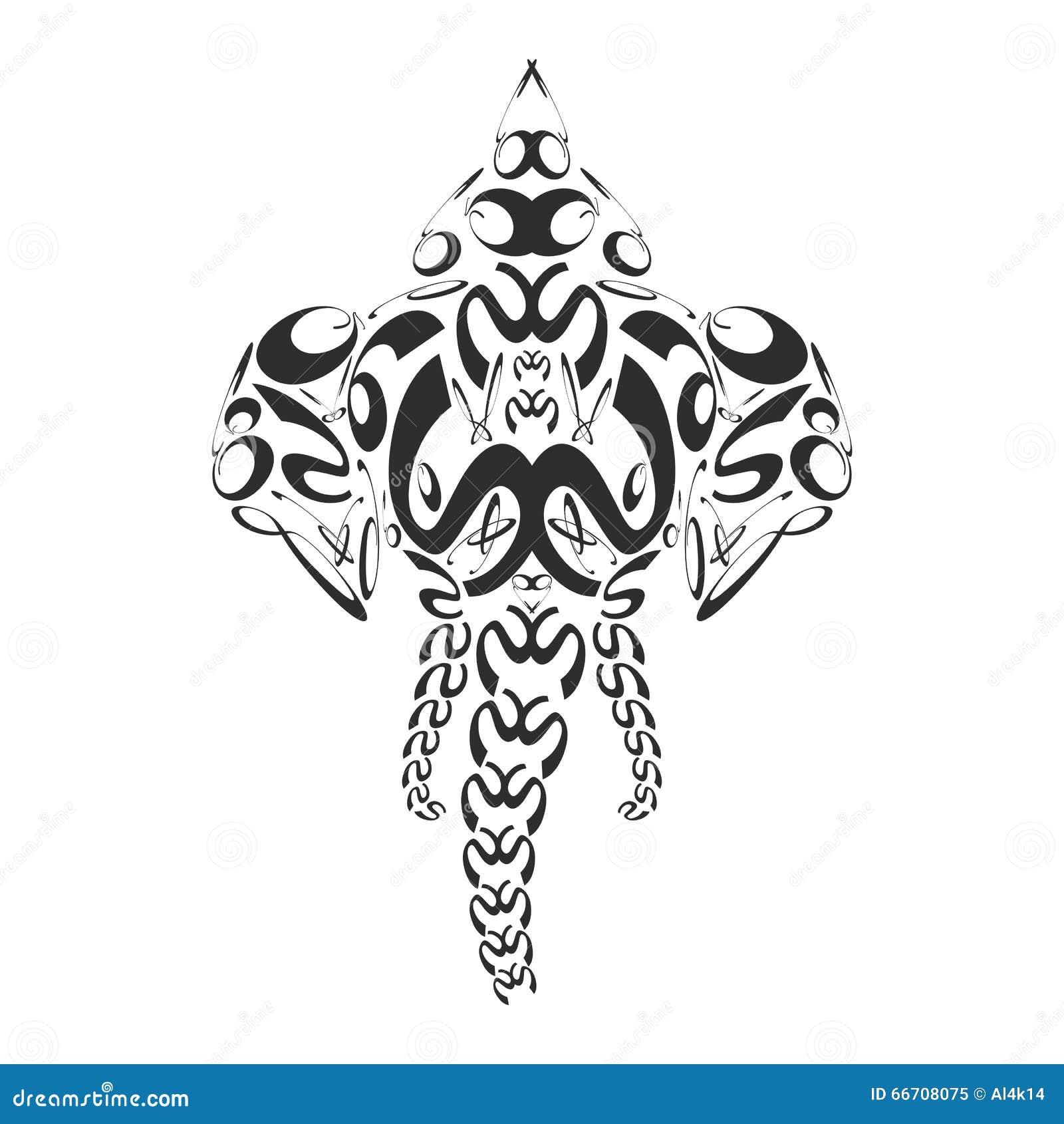 Vector Abstract Monochrome Elephant Ganesh Illustration