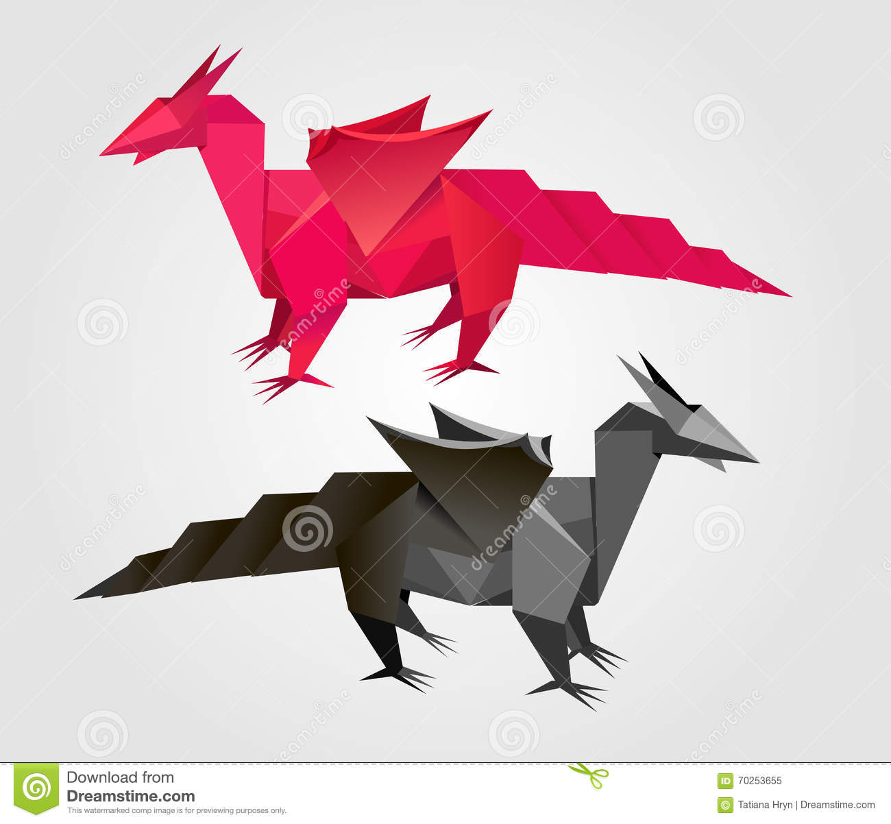 Vector Abstract Origami Dragon Stock Vector Illustration Of Flat