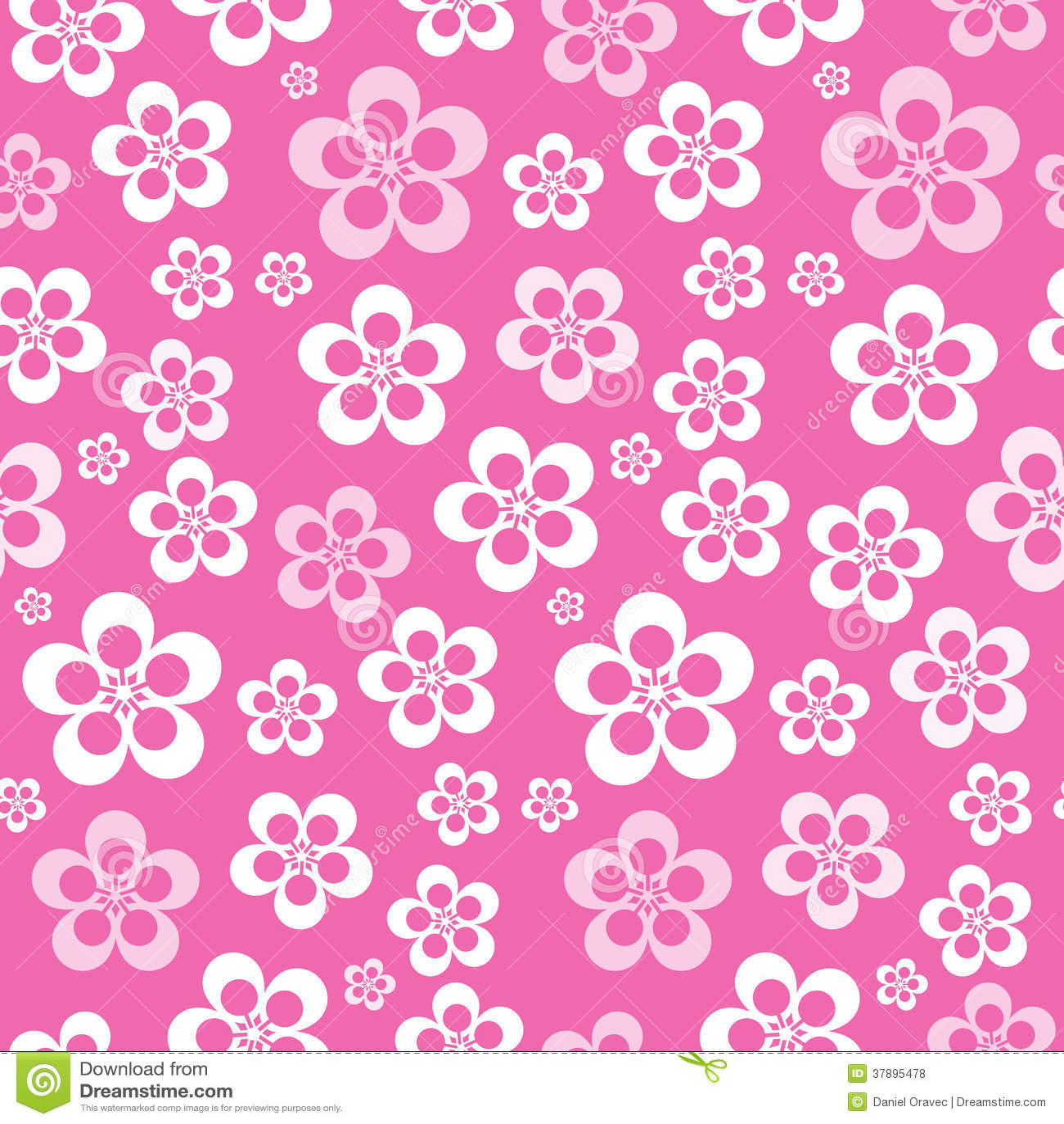 Vector Abstract Retro Naadloos Roze Bloempatroon