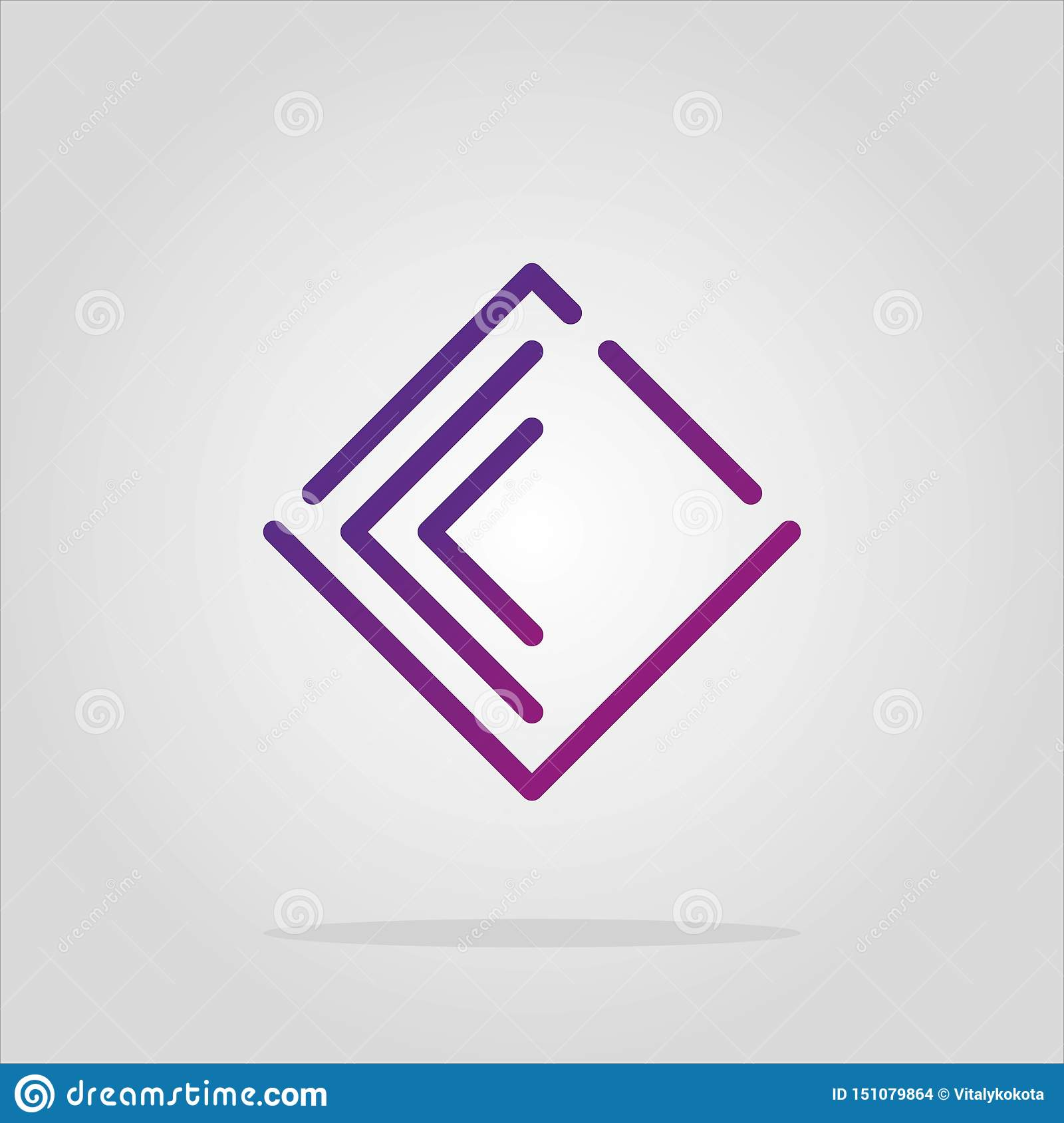 Vector abstract romb logo elements collection. Material design, flat, line-art styles. Company symbol or app icon. diamond logo. a